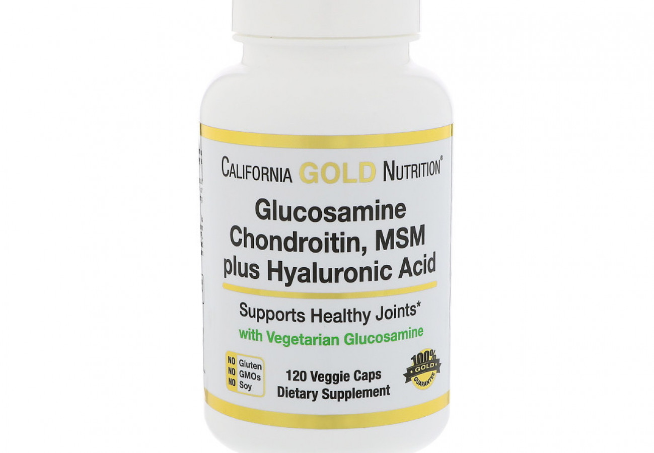 Glucosamine, chondroitin, MSM plus hyaluronic acid, California Gold Nutrition, Глюкозамин, хондроитин, МСМ + гиалуроновая кислота, 120 капсул